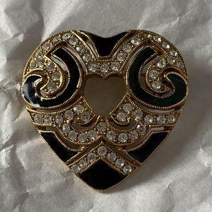 Heart Brooch Rhinestones Black Enamel Gold Tone